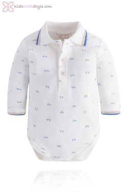 Baby's Polo Shirt Style Onesie in Cobalt