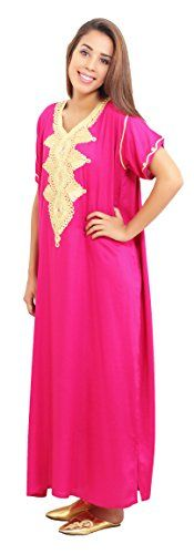 NEW Moroccan Caftan Handmade Light Weight Cotton Embroidery Fits SMALL to MEDIUM Magenta