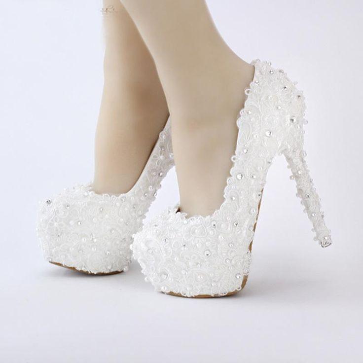 LEIT Chaussures Femmes Fine Dentelle Blanche Robe Robe de Mariage High Heels Shoes,34,Pearl White 14cm