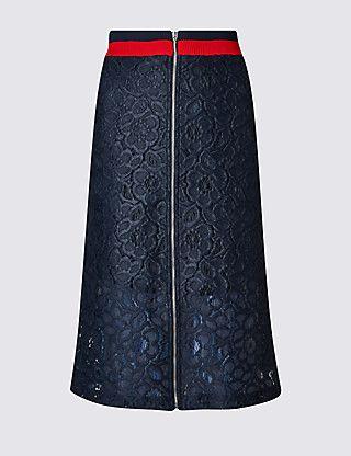 Floral Lace Loose Fit A-Line Skirt | M&S