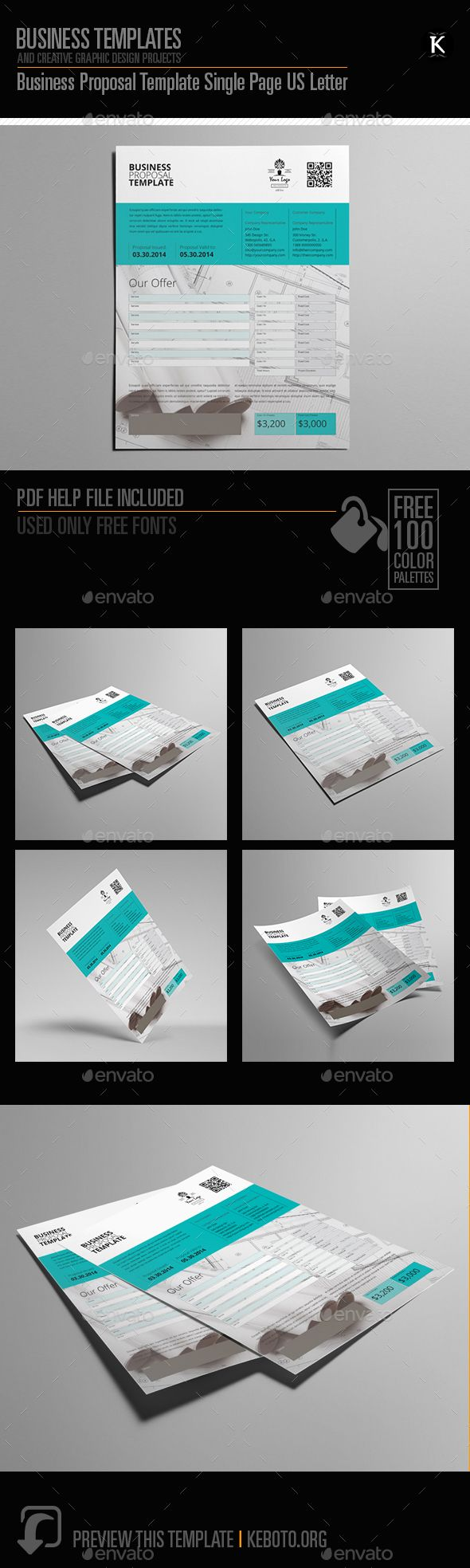 Business Proposal Template Single Page US Letter by Keboto Preview this itemhereBusiness Proposal Template Single Page US LetterSpecifications: Format: U.S. Letter PortraitColor Model: CMYK
