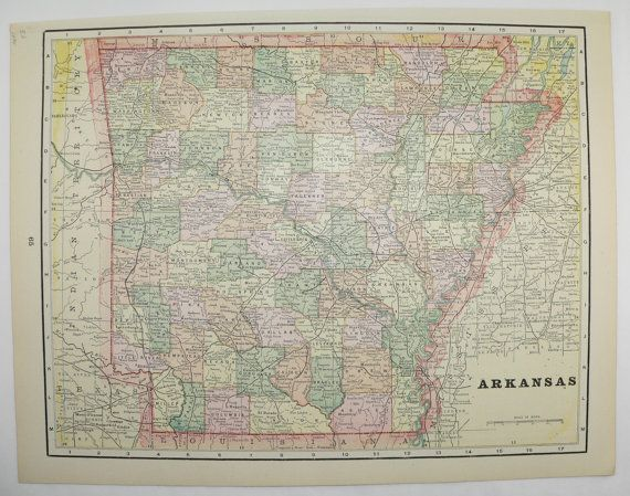 indian territory map oklahoma map arkansas 1894 historical map gift for history buff vintage travel map original 1800s map to frame