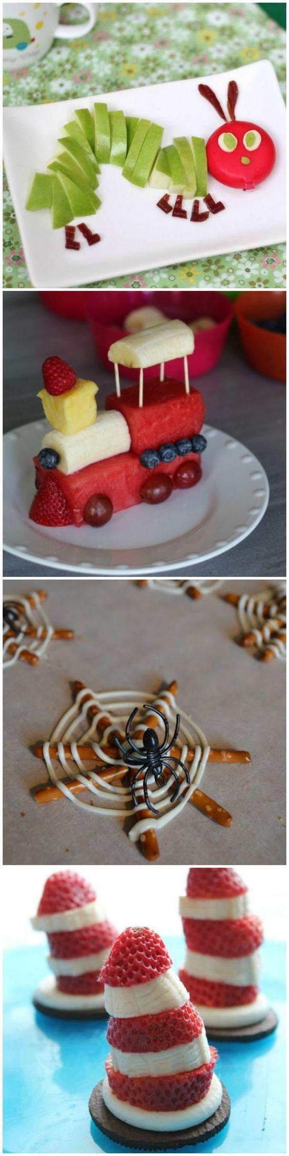 Essen Anrichten, Dekorieren, Deko, Zug Aus Obst, Spinnennetz Spinne, Für  Kinder