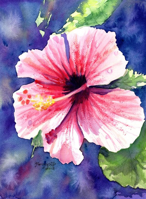 Original Watercolor Painting -  Kauai Hibiscus - Tropical Flower Art - Pink Hibiscus Painting - tropical wall art - Hawaiian home decor (119.00 USD) by kauaiartist