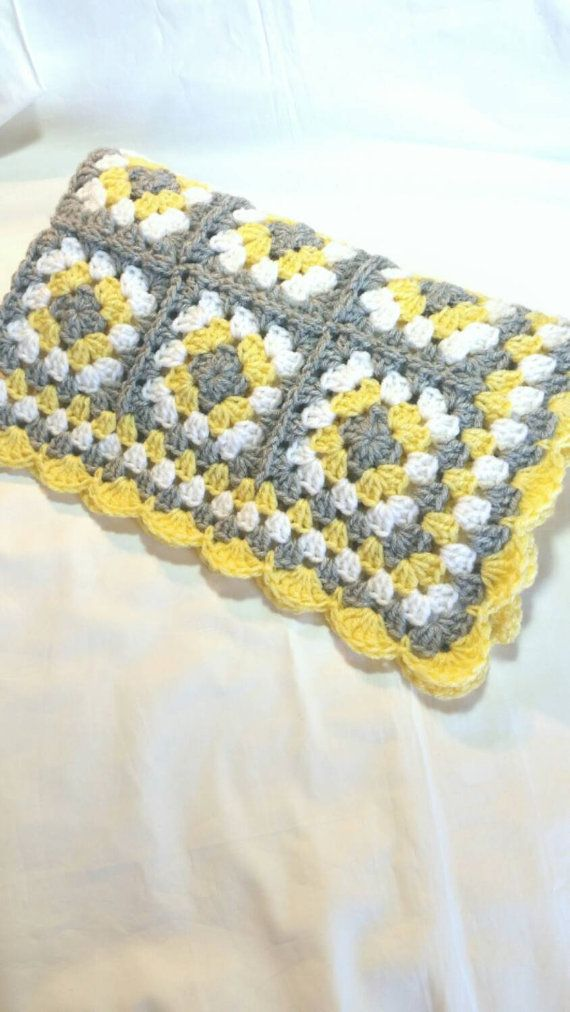 Handmade Granny Square Baby Blanket.  Color: Yellow, Silver Gray, and White.