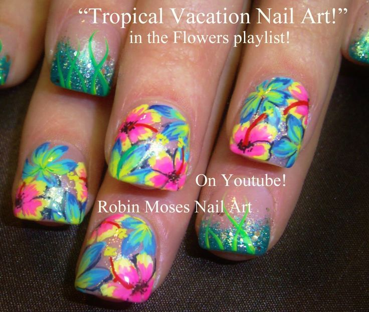 Tropical Flower Nail Art by robinmoses Pink Green yellow orange turquoise bright colors spring summer vacation jungle nails nailart manicure