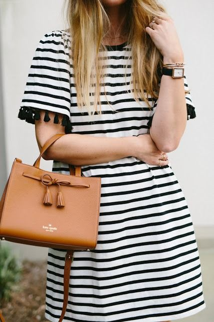 """""""far from ordinary"""" by @workyourcloset, featuring the kate spade new york hayes street small isobel and broome street stripe flutter sleeve dress."""
