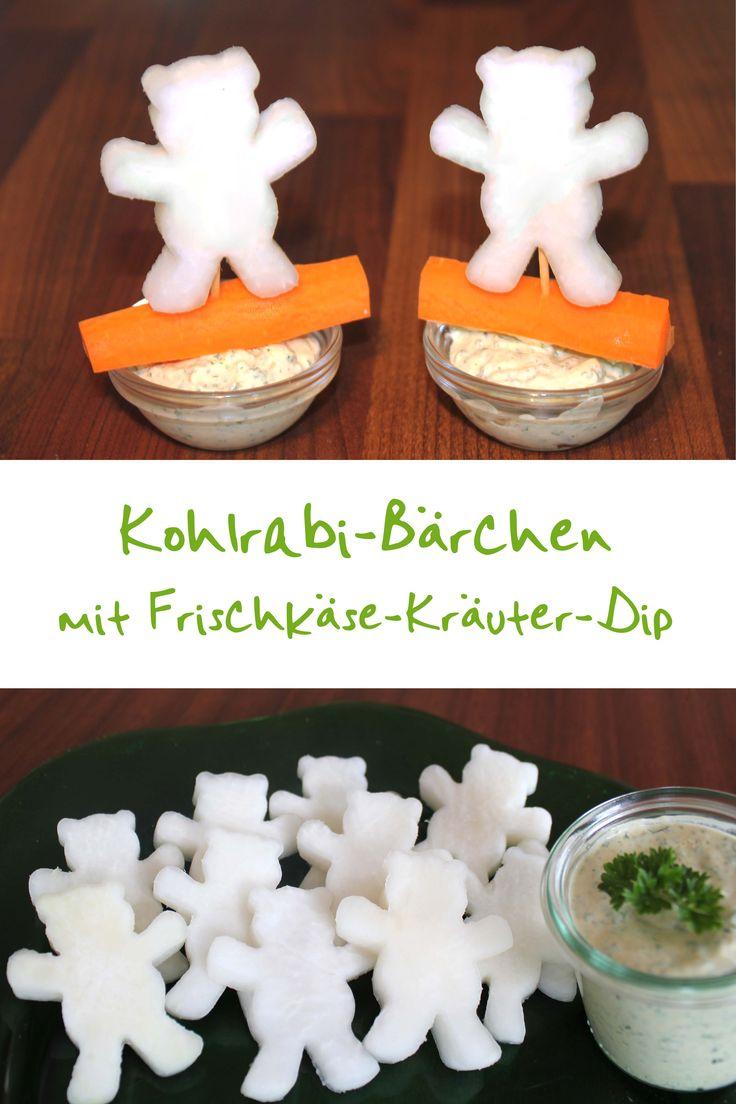 Für die Kohlrabi-Bärchen braucht man eine leckere Kohlrabiknolle und lustige Ausstechförmchen. Den Kohlrabi schälen, in Scheiben schneiden und ausstechen. Das Rezept zu dem Kräuter-Dip findet Ihr hier: http://behr-ag.com/de/unsere-rezepte/rezeptdetail/recipe/kraeuter-dip.html