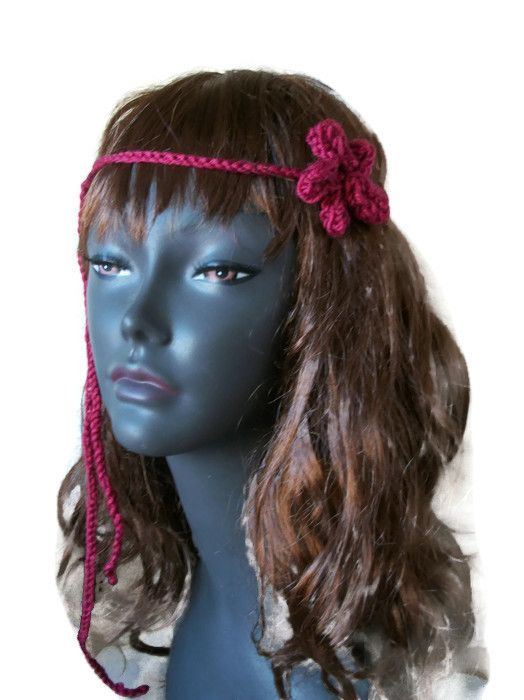 Boho Hairband, Single Daisy Floral- Hand knitted, £3.99