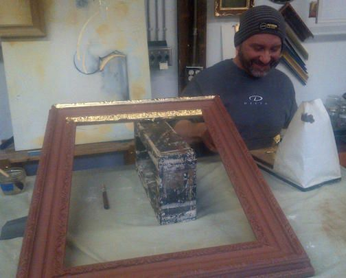 Student gilds a frame in class. Join us to learn traditional water gilding methods and more! Classes held in Seattle and New York  http://www.gildingstudio.com/gilding_classes.html