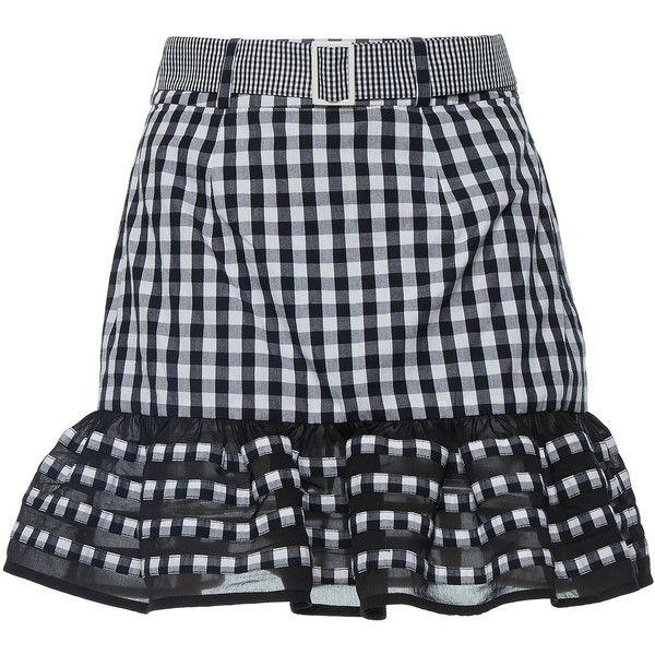Rahul Mishra     Ruffled Gingham Mini Skirt ($255) ❤ liked on Polyvore featuring skirts, mini skirts, high-waisted skirts, flounce hem skirt, frilly skirts, high waisted mini skirt and ruffle skirt