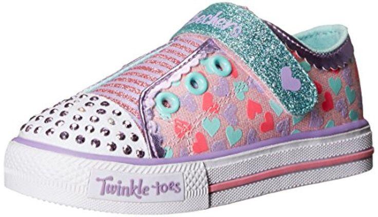Skechers Kids Shuffles-Shimmer Pop Light-Up Sneaker (Toddler), Pink/Multi, 6 M US Toddler - Brought to you by Avarsha.com