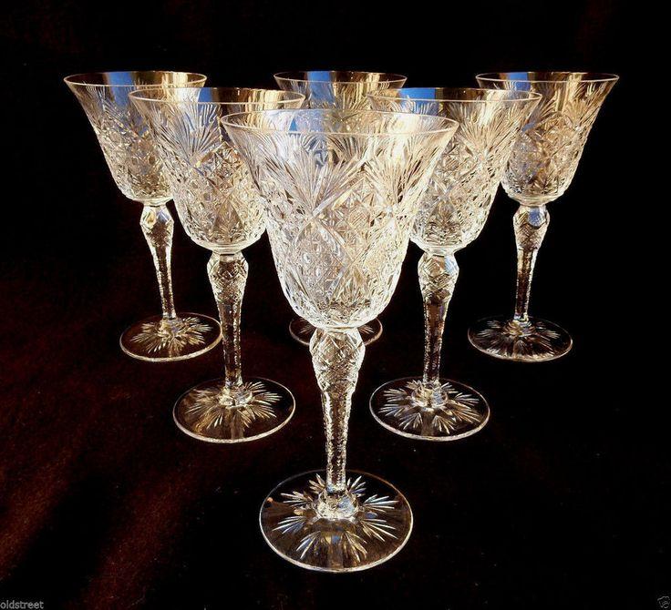 6 Fine St Louis Crystal Goblets ~ Cut ~ Zipper Cut Stem ~ Signed #StLouis