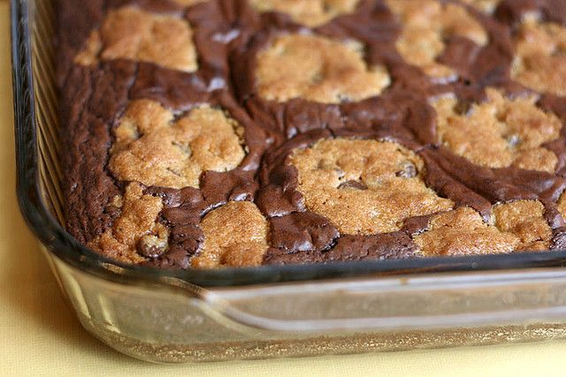 Chocolate chip cookie dough brownies (using mix). Have made this many times when I need an easy dessert that feeds a crowd. I don't make the ganache--that is over the top!