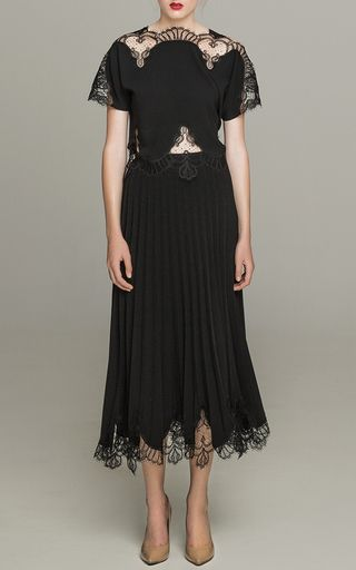 Macramé Lace Crepe Top by COSTARELLOS for Preorder on Moda Operandi