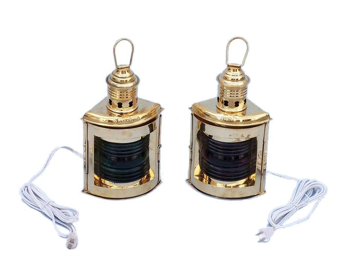 Solid Brass Port and Starboard Electric Lantern 12""