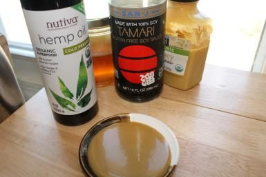 IMG_1170.JPG - Hemp oil honey mustard salad dressing made from hemp oil, honey, tamari and mustard