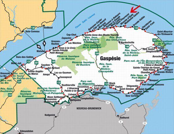 Carte Canada Gaspesie.Carte De La Gaspesie Quebec Road Trip Gaspesie Road