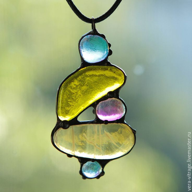 Pendant with glass | Купить Танцующие , балансирующие камушки. Кулон. Стекло, металл. - желтый, лимонный, золотой, стекло