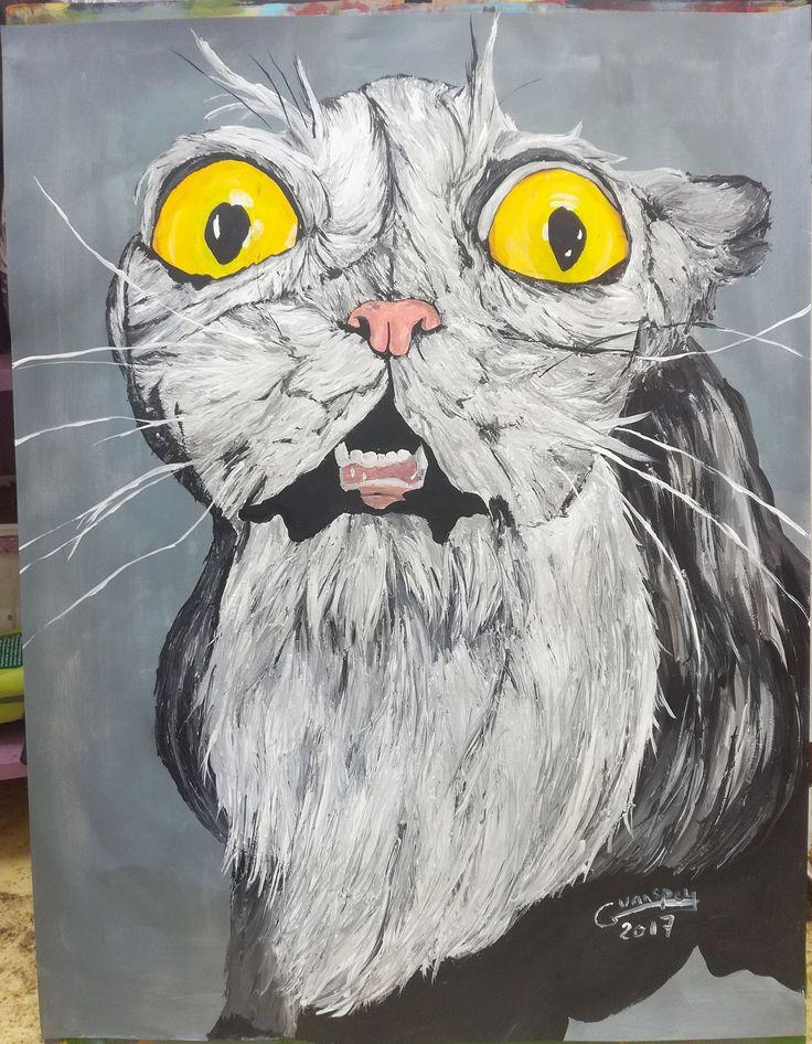 Dessin Peinture acrylique animalière animal chat, crazy cat format 50x65 cm de la boutique vanspeygalleryart sur Etsy