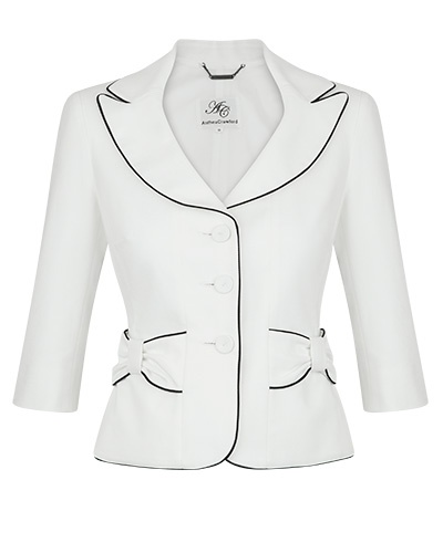 Anthea Crawford White and Black Stretch Cotton Pique Jacket