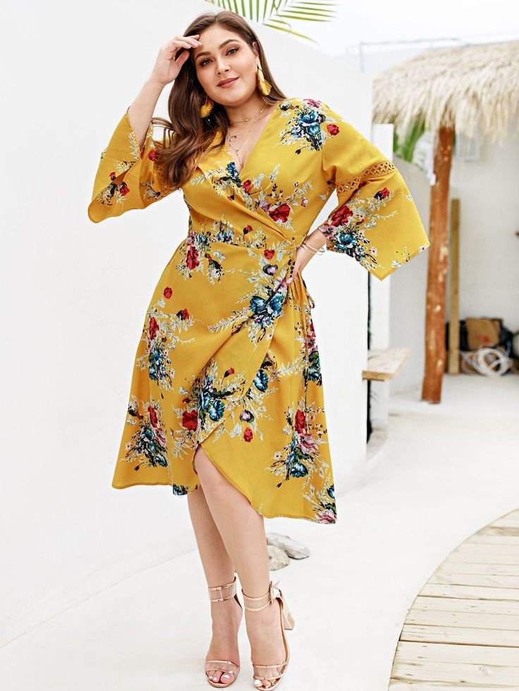 Plus Floral Print Wrap Tie Side Dress in 2020 | Dresses, Boho dress, Plus size dresses