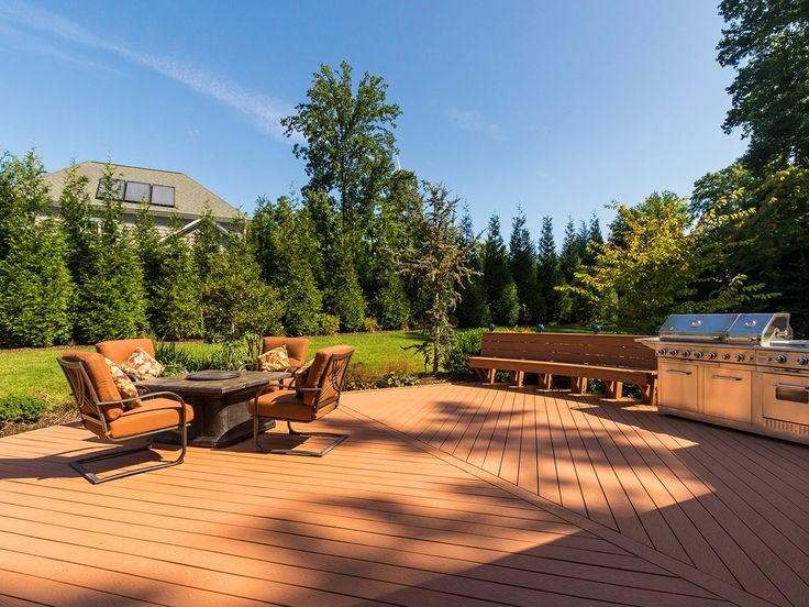 Traditional Deck with Sherwin-Williams Deckscapes Exterior Acrylic Solid Color Deck Stain, 1 Gal. Leyland Cypress, Fire pit