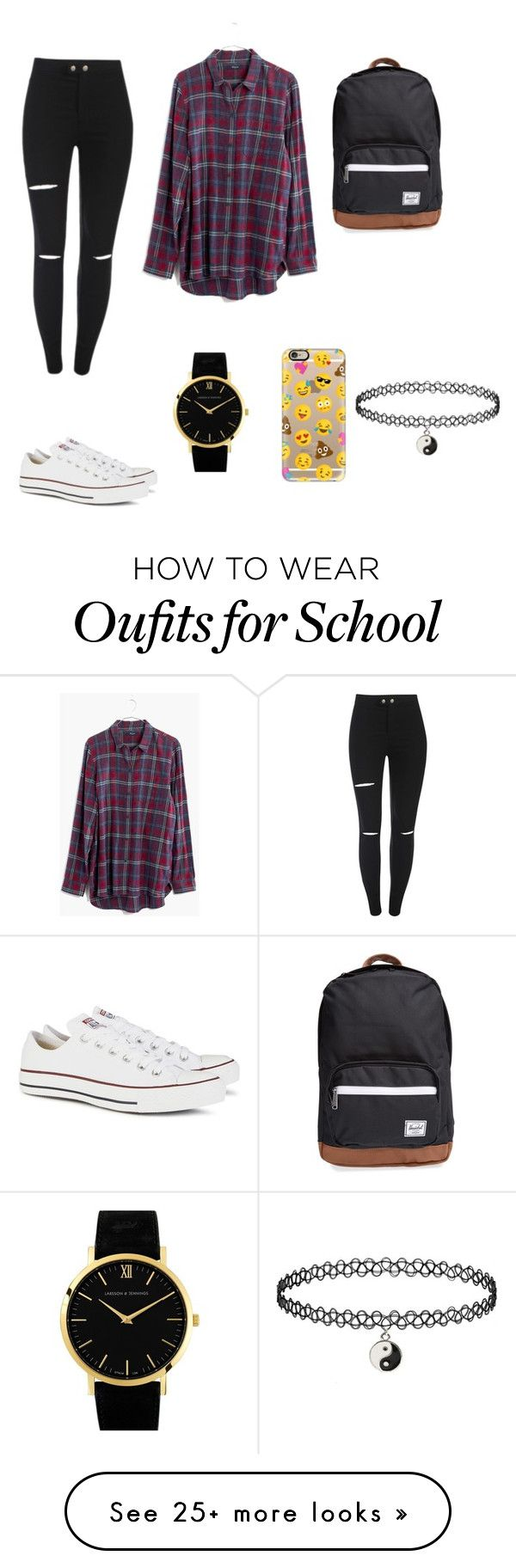 """Back to school"" by lenn-ning-kee on Polyvore featuring Madewell, Converse, Larsson & Jennings, Casetify and Herschel Supply Co."