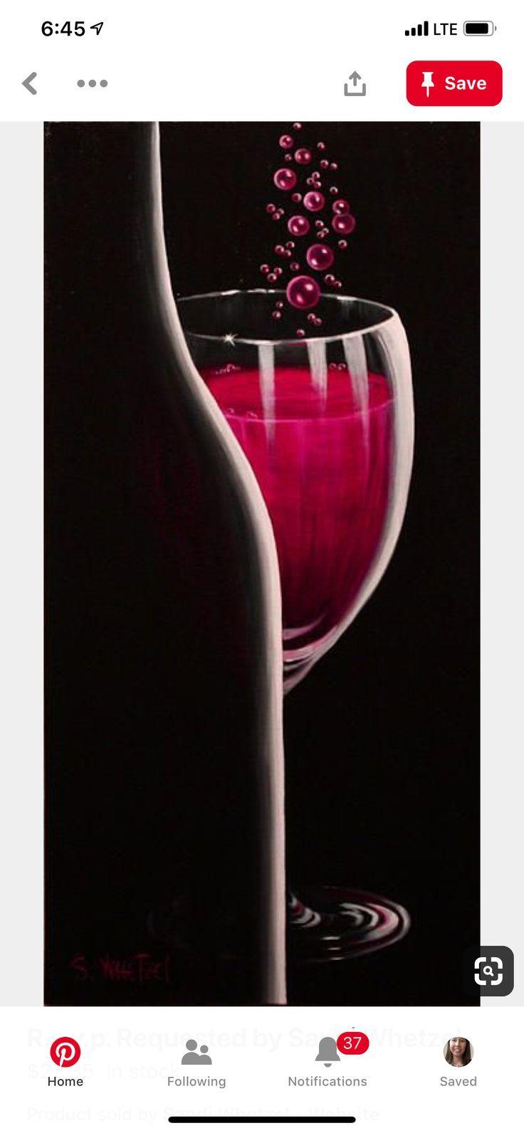 Untitled Wine Painting Night Painting Wine Art