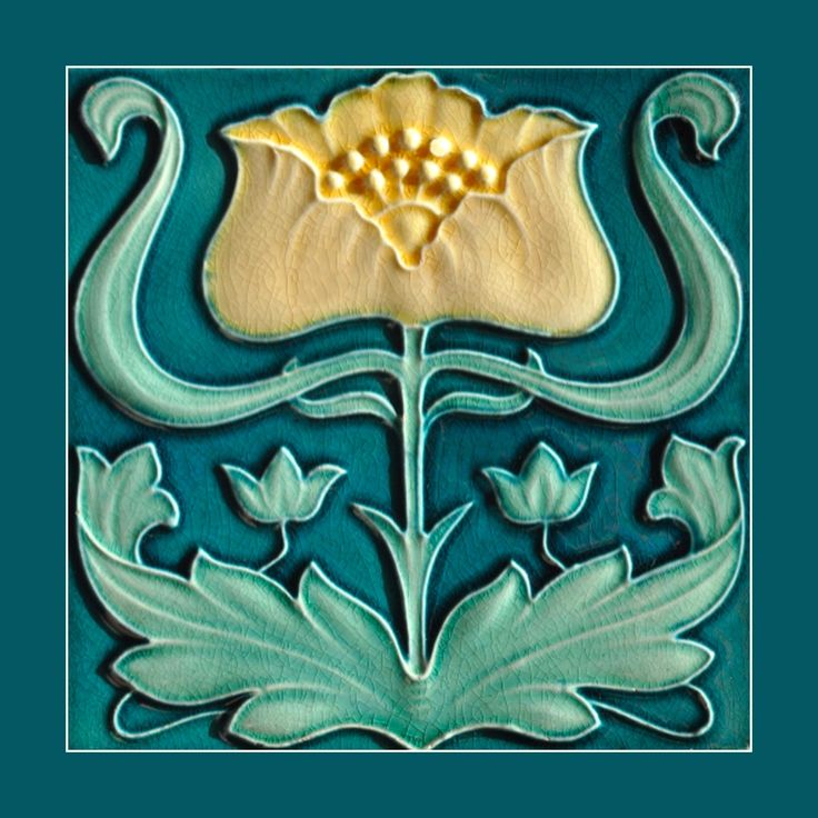 """22 Original Art Nouveau tile by J C Edwards (1907). Courtesy Robert Smith, from his book """"Art Nouveau Tiles with Style"""" and Simon Cronk, whose website is at www.artnouveau.com.au. Buy as an e-card with a personalised greeting!"""