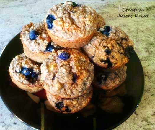 healthy banana blueberry protein muffins - these are SO SIMPLE to make.  Great for a fast breakfast idea with a cup of coffee.  No sugar/flour/dairy  I make them all the time.