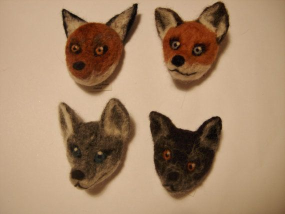 Needle felted animal pins by CraftRain on Etsy