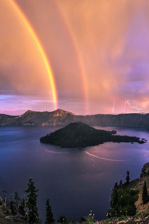 Crater Lake, Rainbows, and Lightning! by jasmanmander