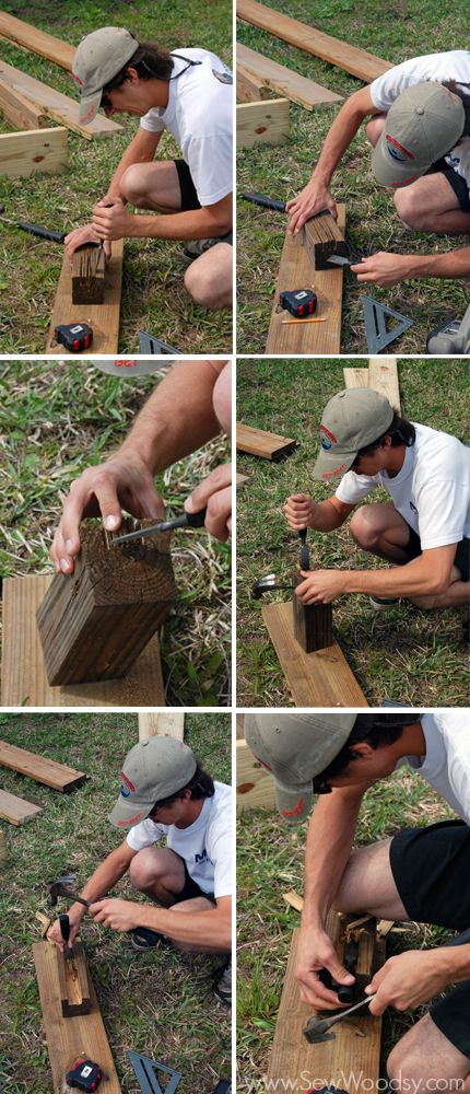 How to chisel out slots for garden bed corner posts.