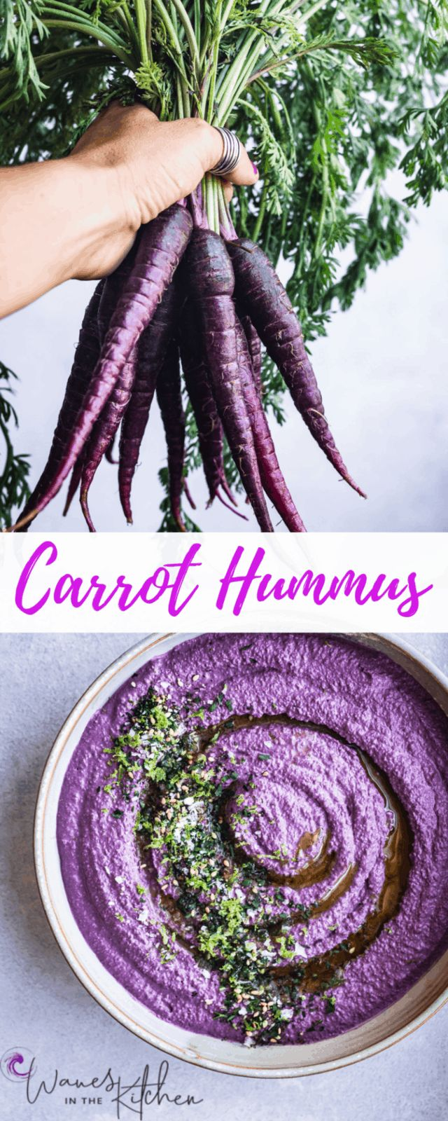 A deliciously healthy carrot hummus, adaptable to every possible color of carrot…