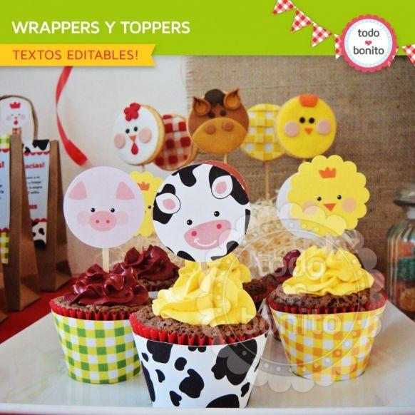 Granja niños: wrappers y toppers para cupcakes