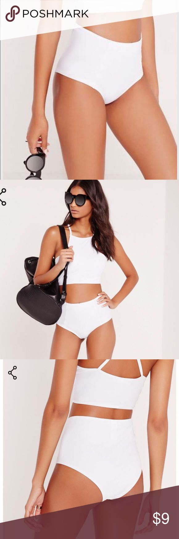Missguided white high waisted bathing suit bottoms *NEW WITH TAGS* white high waisted bathing suit bottoms Missguided Swim Bikinis