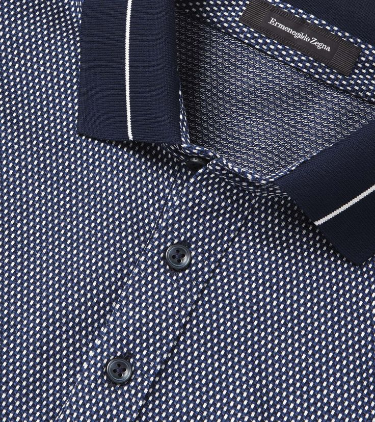 Blue/White Cotton Jacquard Shirt