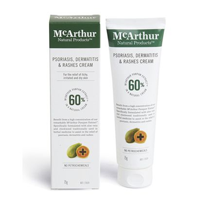 Psoriasis, Dermatitis & Rashes Cream 75g – $27.95* Always read the label. Use only as directed. If symptoms persist see your healthcare professional.  Visit our website at http://mcarthurskincare.com for more details.
