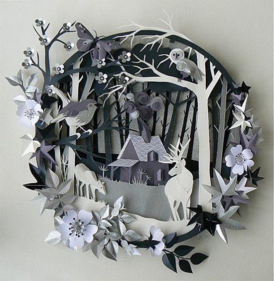 PRESENT - Paper Art - Greyscale layered paper scene. (Helen Musselwhite, 2013)