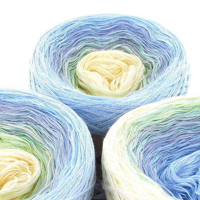 Variante:3fach 150g 750m LoLa Farbverlaufswolle Aquarell Blaumeise