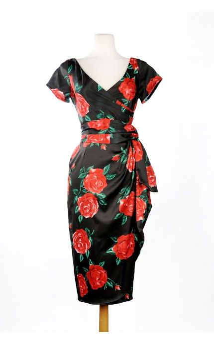 Pinup Couture- Ava Dress in Spanish Red Rose Satin | Pinup Girl Clothing