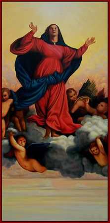 Fourth Glorious Mystery - The Assumption of Mary into Heaven  Mother of God - Ann Chapin Art