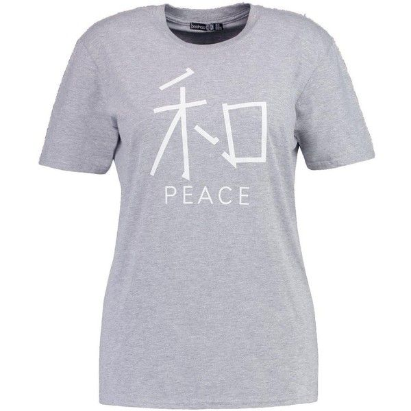 Boohoo Plus Sarah Peace Slogan Tee (805 PHP) ❤ liked on Polyvore featuring tops, t-shirts, off shoulder tops, jersey t shirt, off shoulder t shirt, peace sign t shirt and jersey tee
