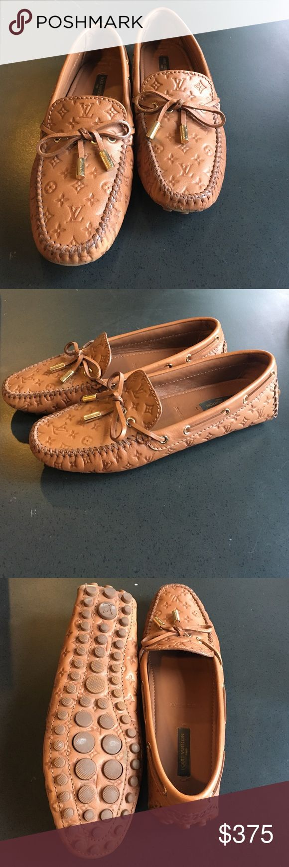 Louis Vuitton Flat Gloria Loafers Very lightly used Louis Vuitton Gloria Flat Loafers (cognac) - embossed calf leather with rubber outsole with nubs. There are only very slight small strains around the shoes, but nothing major. These are in amazing condition! Louis Vuitton Shoes Flats & Loafers
