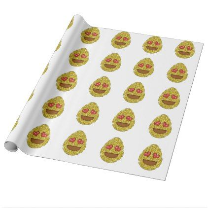 #glitter - #Faux Glitter Easter Egg Emoji With Heart Eyes Wrapping Paper