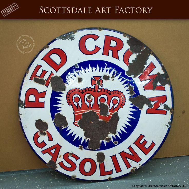 Red Crown Gasoline sign - Vintage Signs for sale - Original Standard Oil sign for the Red Crown brand gasoline - 30-inch porcelain sign from 1915