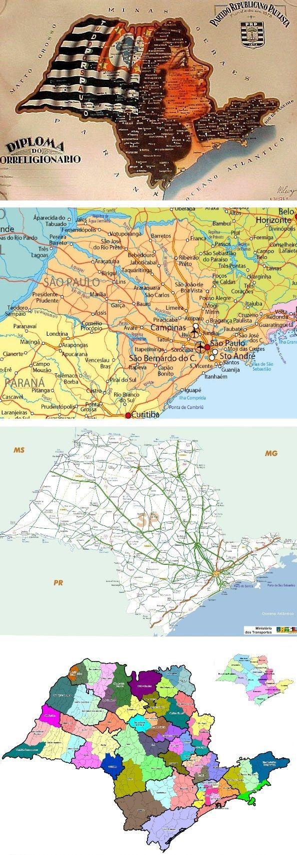 Saint paul state map brazil mapa do estado de s o paulo brasil