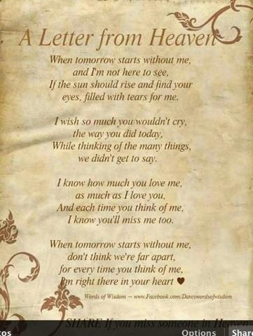 I sooooooooooo wish I could get a letter from Heaven from my Mom, Dad, Sister, Brother, and all loved ones there.