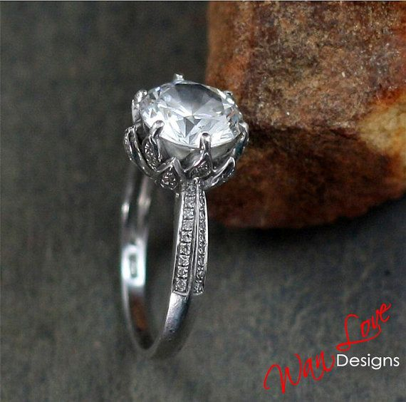 Lotus Flower Diamond & White Sapphire Engagement by WanLoveDesigns